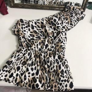 Tops - C one shoulder animal print blouse Sz S